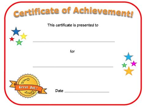 blank certificate of achievement template certificate of achievement templates loving printable
