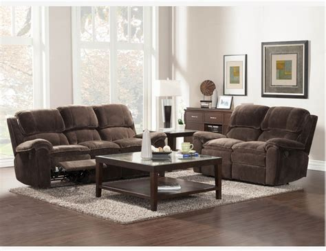 Microfiber Living Room Furniture Chocolate Microfiber Reclining Sofa Loveseat Tufted Living