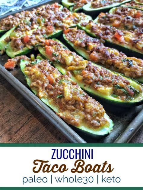 easy zucchini taco boats zucchini taco boats paleo wholeo keto thyme joy