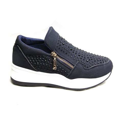 zips sneakers suede fashion trainers zip shoes diamante