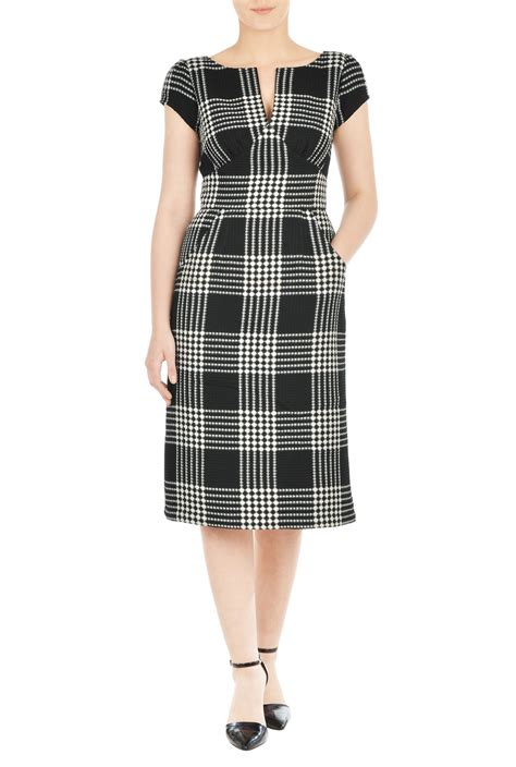 Check Dress our waffle check dress is styled with a split boat neck