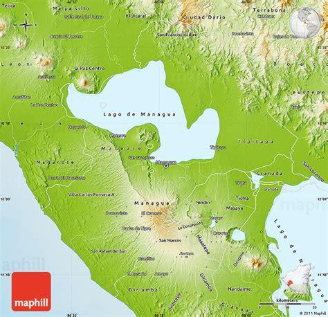 managua nicaragua map physical map of managua