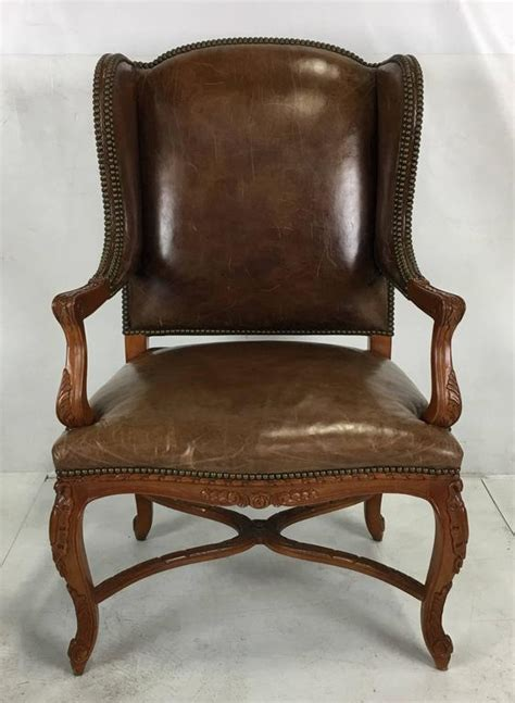 ralph leather chair ralph spencer leather wing chair at 1stdibs