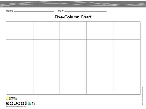 free column templates 8 best images of 5 column chart 4 column chart template