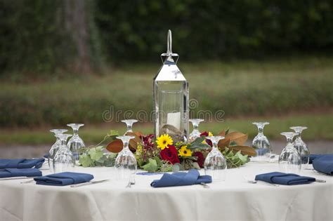 fancy place setting stock photo image of folded fancy elegant place setting for outdoor dinner royalty free