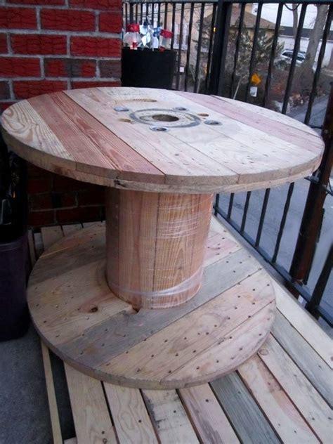 large industrial wood spool diy repurpose table