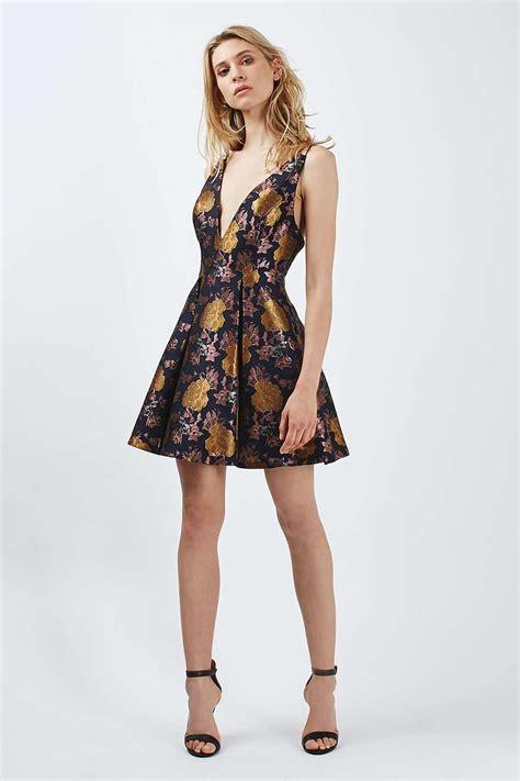 Top Shoo plunge floral jacquard dress topshop