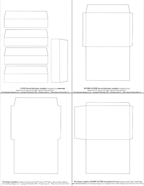 Mel Stz New Envelope Templates Standard A2 Size Two Styles O Template Size