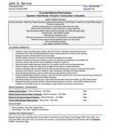 customer service resume sle free resume template