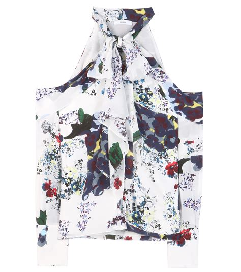 Blouse Aila erdem aila printed silk blouse in white lyst
