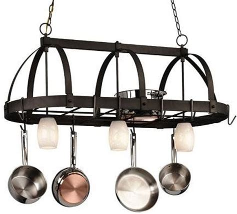 kitchen light pot rack with lights lighting