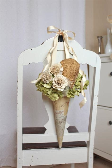 items similar  rustic natural paper flower pew cone
