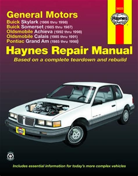 small engine repair training 1985 buick somerset on board diagnostic system buick skylark and somerset olds achieva and calais pontiac grand am haynes repair manual