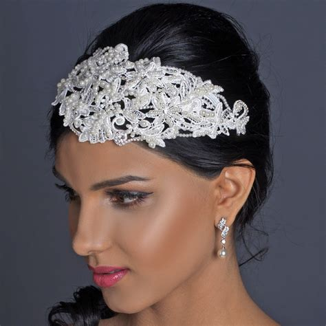 Wedding Hair Accessories Tulle by Pearl Rhinestone Russian Tulle Cap Headband