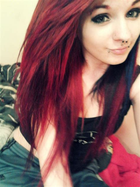 on top on bottom hair color love the hair color red on top and black on the bottom