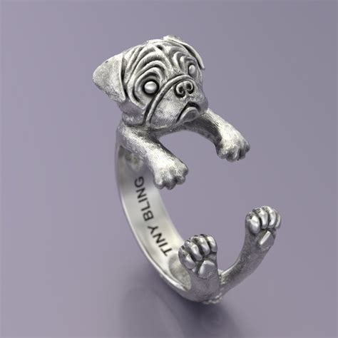 pug ring pug ring in oxidized sterling silver