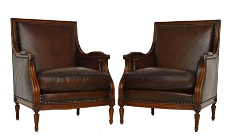 upholstered armchairs uk pair of antique french mahogany leather upholstered armchairs