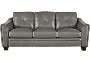 cindy crawford home marcella gray leather sofa sofas gray