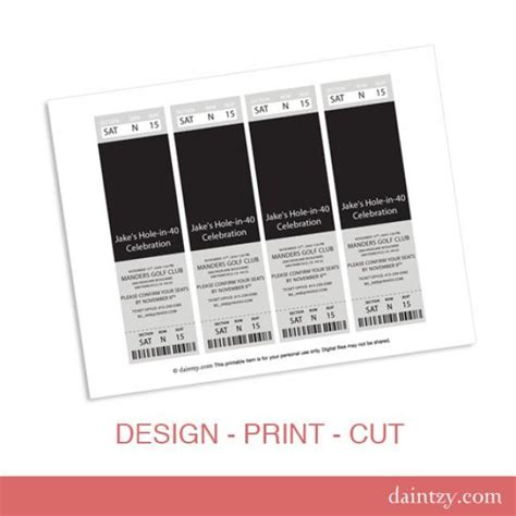 event ticket photo invitation template printable diy