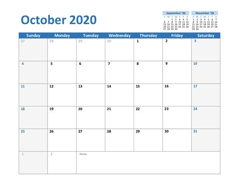 october  printable calendar template   word excel printable october calendar