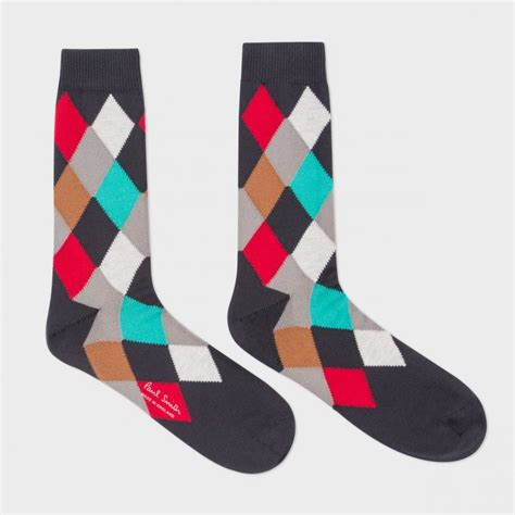 pattern socks mens lyst paul smith men s grey harlequin pattern socks in
