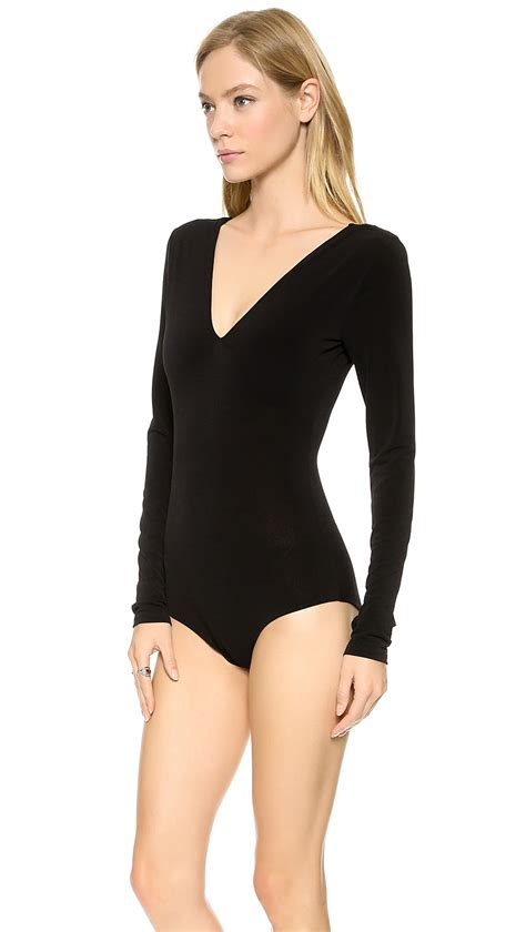 V Neck Bodysuit v neck bodysuit in black lyst