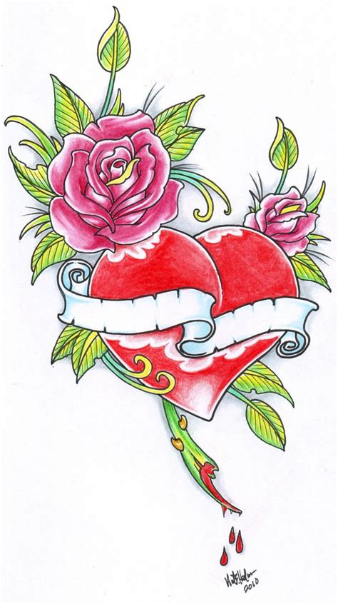 rose and hearts tattoos and 2010 by vikingtattoo on deviantart