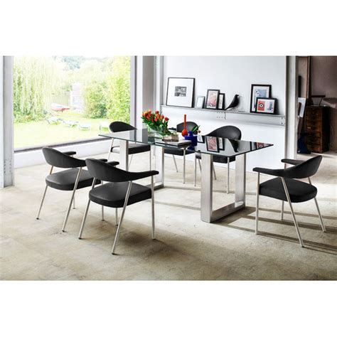 sayona glass dining table in grey with 6 aurelia dining