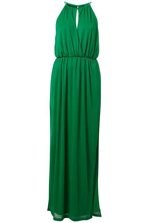 Greeny Maxi Dress lyst topshop split neck maxi in green