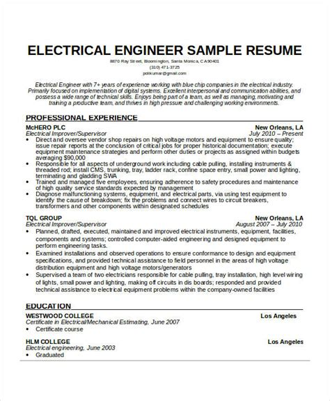 Resume Sample Electrical Engineer by Free Engineering Resume Templates 49 Free Word Pdf