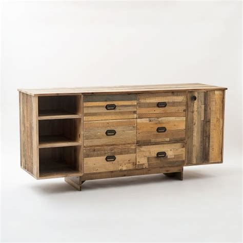 reclaimed wood buffet table emmerson reclaimed wood buffet large west elm