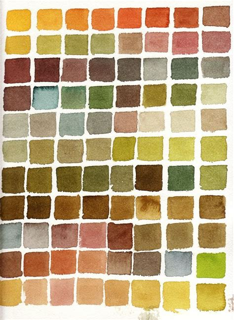 autumn colours watercolour swatch colour scheme chart greens hues painting color