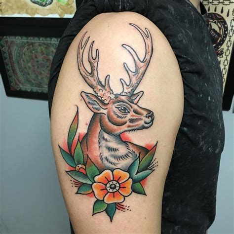 traditional deer tattoo traditional deer by delfoco tattoos