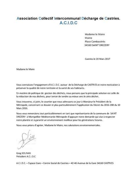 la lettre de proposition lettre au maire de st drezery