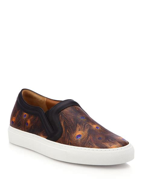 givenchy feather print leather skate shoes in brown lyst