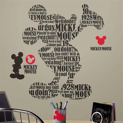 mickey mouse wall stickers typographic mickey mouse wall decals
