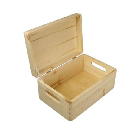 Small Storge Box plain small pine wooden storage box trunk chest with