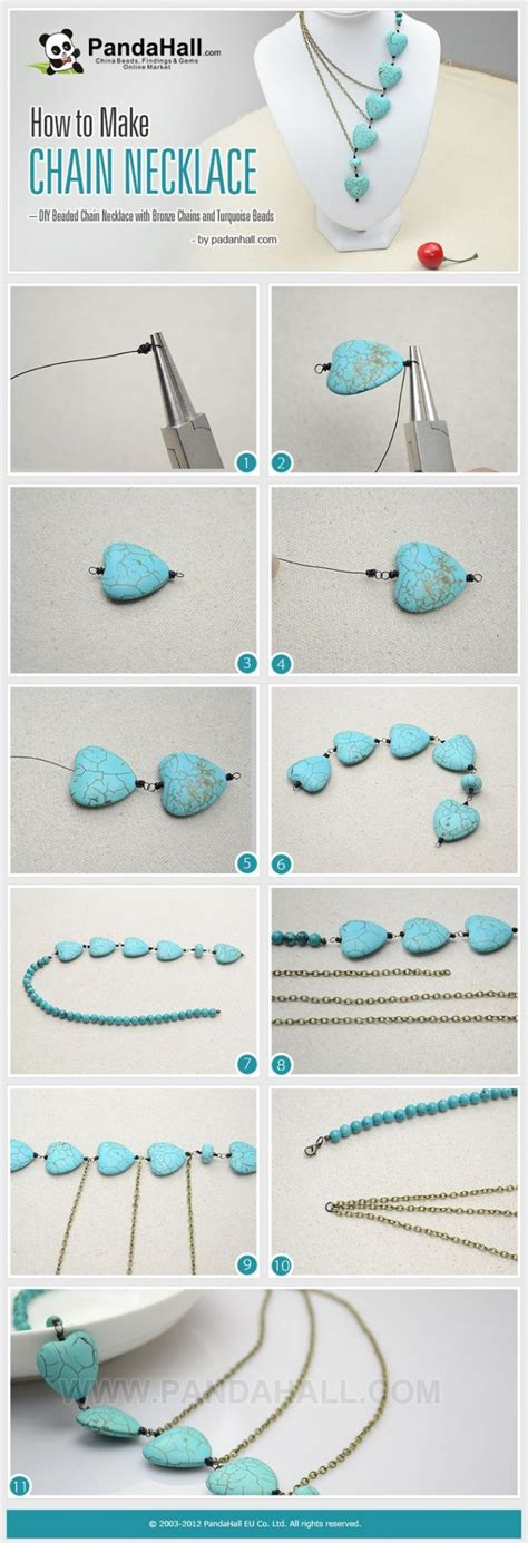 how to make turquoise jewelry how to make pretty diy beaded chain necklace with bronzed
