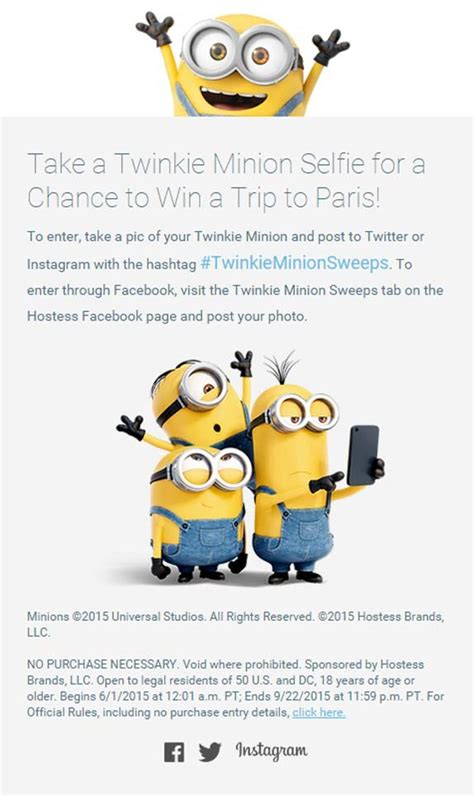 Minions Sweepstakes - ultimate twinkie minion sweepstakes sweepstakes pit