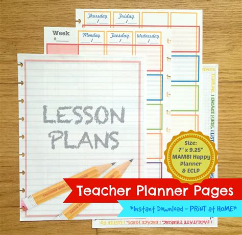 printable teacher planner etsy printable teacher homeschooling planner pages for mambi happy