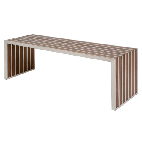 modern benches holden stainless steel walnut wood slatted modern bench