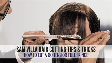 how to cut bang step by step process with picture how to cut a no tension full fringe zoey deschanel bangs