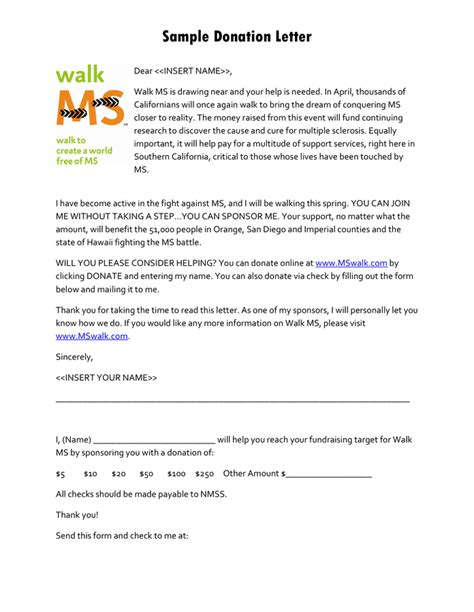 charity letter one show sle donation letter in word and pdf formats