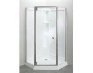sterling solitaire economy frameless corner shower kit at