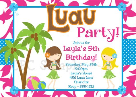 free printable hawaiian luau invitations luau birthday invitation luau invitations printable or