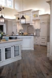 Wood Floor In Kitchen White Cabinets Rustic Floor Lanterns Home Improvement Ideas Home The