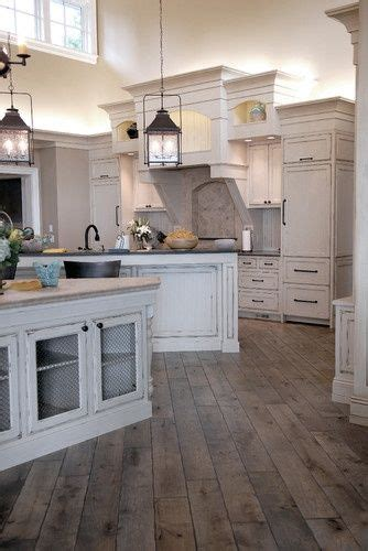 Wood Floor In Kitchen White Cabinets Rustic Floor Lanterns Home Improvement