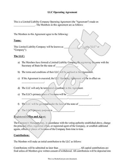 Withdrawal Letter From Llc Llc Operating Agreement Sle Template
