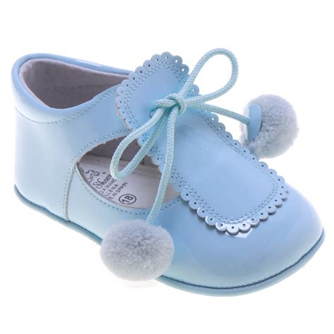 baby shoes for uk baby blue pom pom pram shoes in patent leather