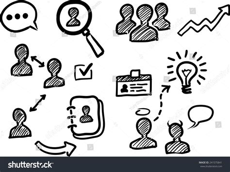 doodle poll italiano management human resources doodle icons stock vector